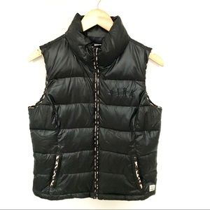 Pink Black Puffer Vest with Cheetah Trim
